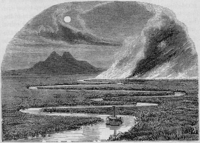 Steamboat on the San Joaquin River, circa 1860, with field of tules on fire. Mount Diablo in background. James M. Hutchings, Scenes of Wonder and Curiosity in California
