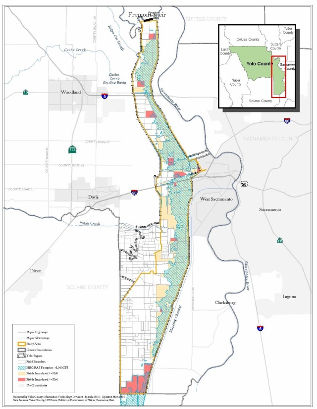 Green shade with blue hatching shows footprint of area that would be inundated under the 6,000 cfs flooding scenario. Source: Yolo County