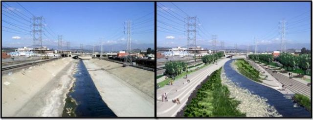 The Los Angeles River today, looking north above 1st Street in downtown, and potential improvements with a riparian corridor and native plants.  Source: Los Angeles River Revitalization Master Plan