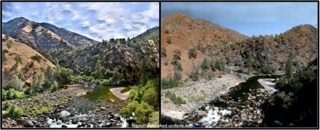 The confluence of the Tuolumne and Clavey rivers before the fire (June, 24, 2013) and after (Sept. 18, 2013. Photos by Joshua Viers (left) and Andy Bell, UC Davis Center for Watershed Sciences