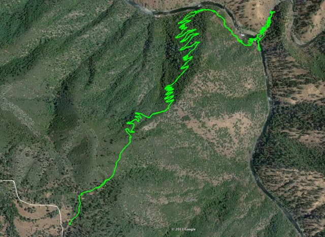 The Hamby Trail down to the confluence of the Tuolumne and Clavey rivers drops 2,000 feet in 2.5 miles.