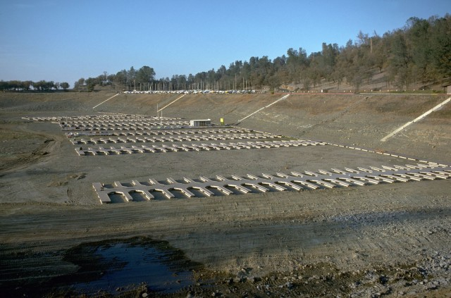 Boat slips in Folsom Reservoir in a drought year, 1976. Source: California Department of Water Resources