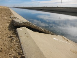 U.S. Geological Survey scientists say cracks and buckles along the Delta-Mendota Canal are likely caused by subsidence from groundwater overdraft. Photo by Amy Quinton, Capital Public Radio, November. 2013 by Amy Quinton, Capital Public Radio