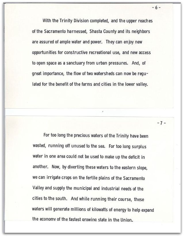 Excerpt of President Kennedy's remarks at the 1963 dedication of the Whiskeytown Dam and Reservoir. Source: John F. Kennedy Presidential Library and Museum.