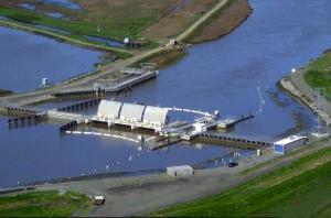 Suisun Marsh Salinity Control Gates on Montezuma Slough open to allow freshwater into Suisun Marsh for duck habitat. Source: California Department of Water Resources.
