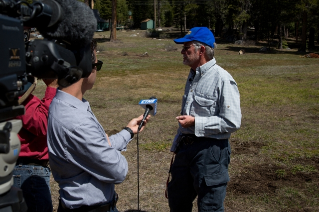 DWR's Frank Gehrke of California's Snow Surveys performs the last snow survey of the season.