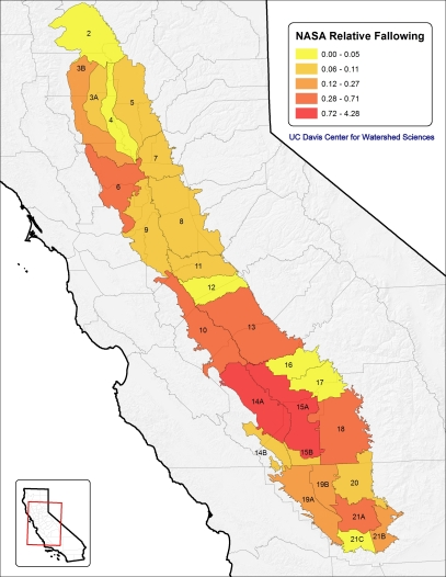 Difference in in idle Central Valley cropland between 2014 and 2011, relative to total cropland in each region. Based on NASA satellite maps. Source: Economic Analysis of the 2014 Drought for California Agriculture