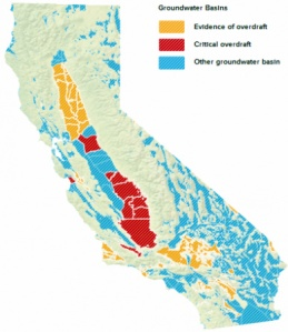 Groundwater basins in overdraft. Source: California Department of Water Resources, 1980