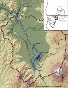 The 2.2 mile Big Springs Creek (center) is fed from the snow-capped Mount Shasta. The snowmelt runs underground through porous volcanic rock before eventually bubbling up in the creek. The Shasta Basin (outlined) is part of the much larger Klamath Basin (inset). Source: UC Davis Center for Watershed Sciences