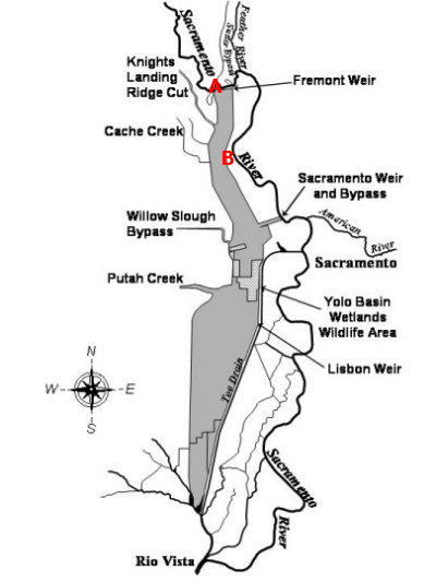 A schematic map of the Yolo Bypass. Courtesy of DWR. Point A shows the location of the Fremont Guage (FRE). Point B shows the location of the Yolo Bypass guage (YBY).