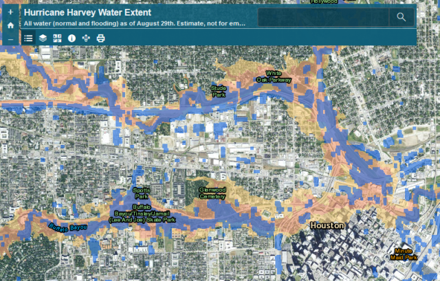 An image of the flood inundation map in Harris County, Texas, showing the flooding extent of Hurricane Harvey.